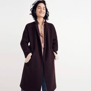 Madewell Monsieur Plum One Button Wool Blend Coat